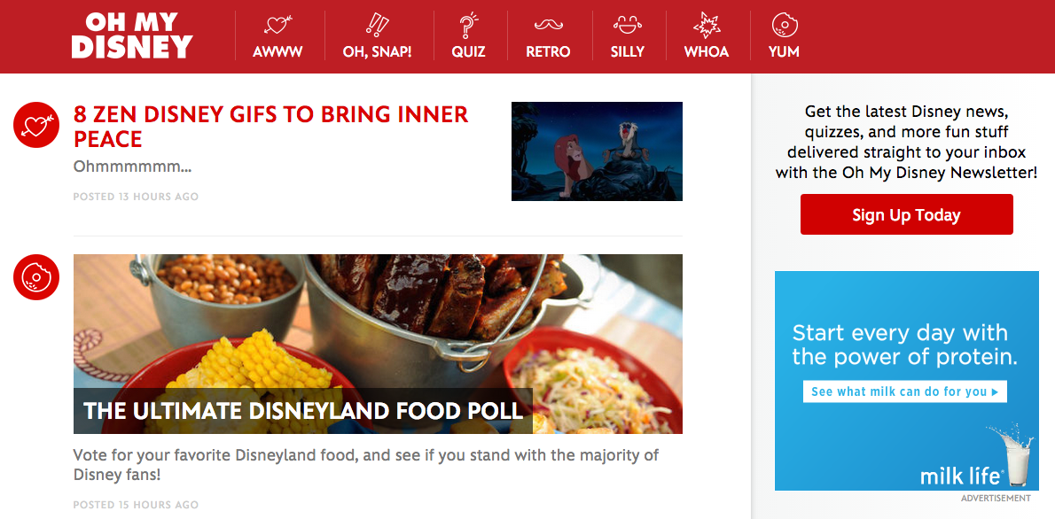 Oh My Disney Content Marketing Example