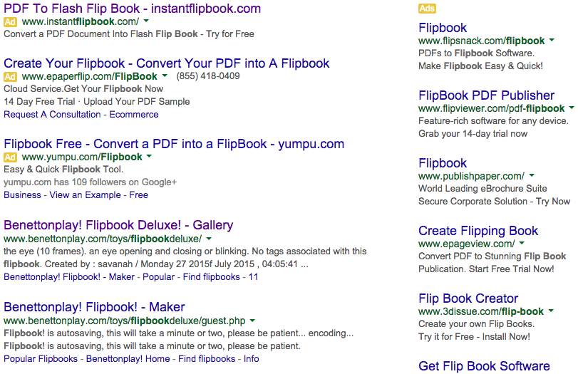 Flipbook search results