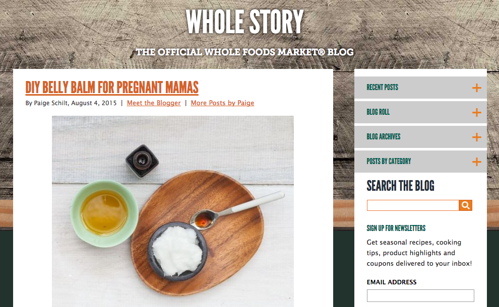Example of Content Marketing Whole Foods Brand Story